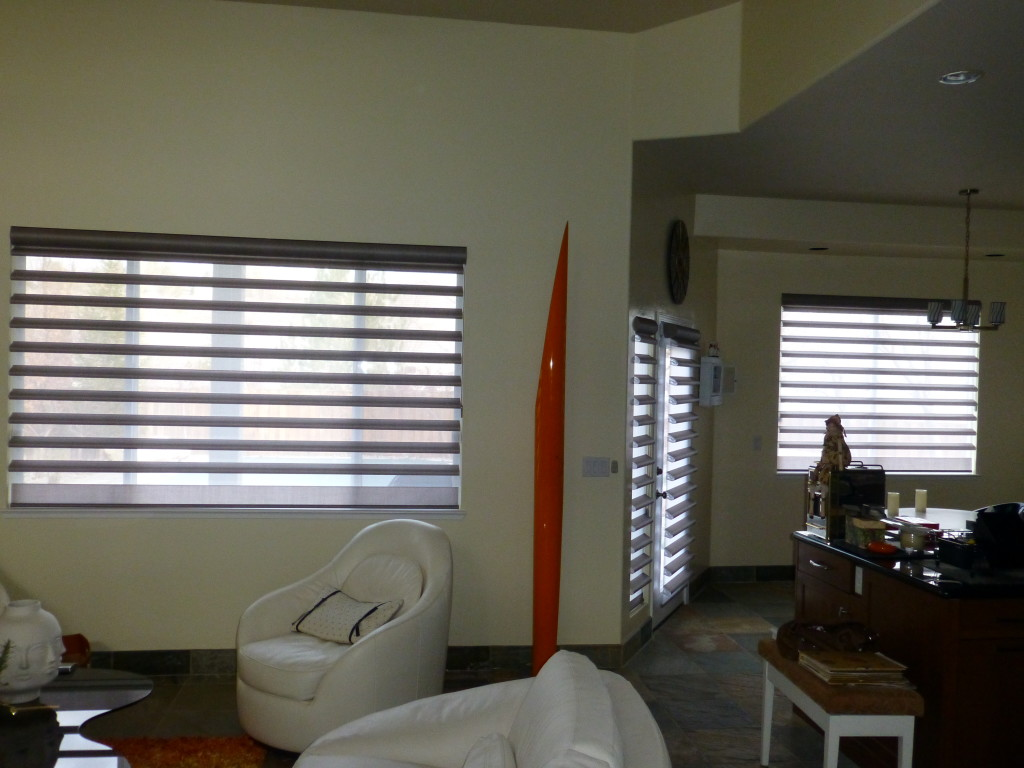 "After photo- Replacing 2"" faux woods with Hunter Douglas Pirouette Shades"