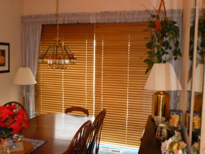 2 on 1 Wood Blinds over Slider